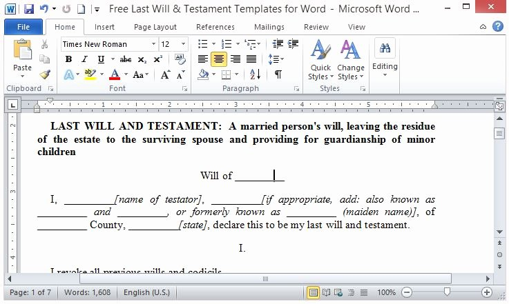 Last Will and Testament Template Microsoft Word New Free Last Will and Testament Template for Word