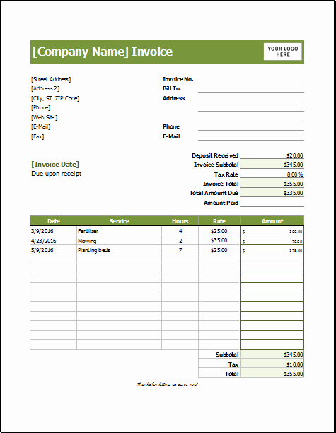 Lawn Mowing Schedule Template Awesome Lawn Care Invoice Template for Excel
