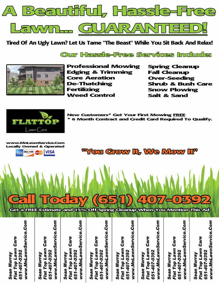 Lawn Mowing Schedule Template New Lawn Care Flyer