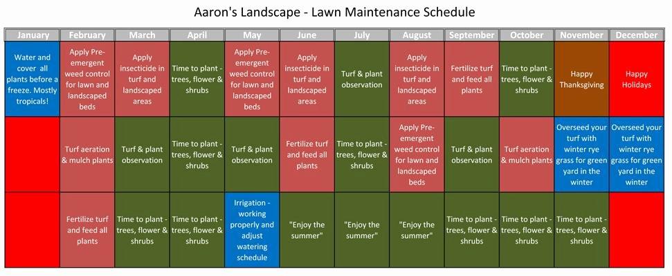 Lawn Mowing Schedule Template Unique Lawn Maintenance Schedule