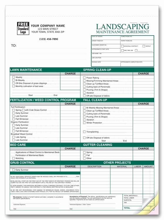 Lawn Service Proposal Template Free Beautiful Free Printable Lawn Service Contract form Generic