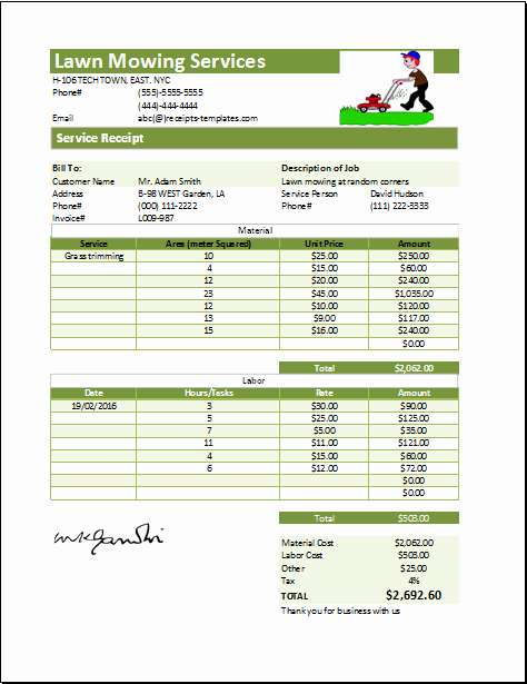 Lawn Service Proposal Template Free Luxury Ms Excel Printable Lawn Mowing Receipt Template