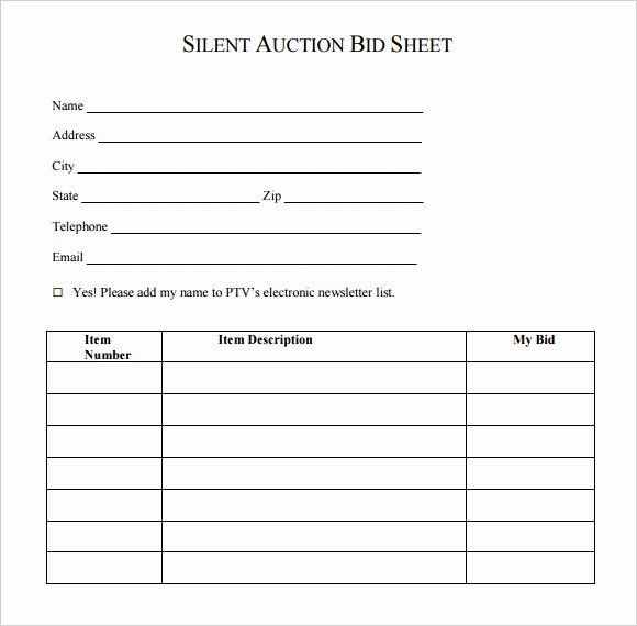 Lawn Service Proposal Template Free Unique Silent Auction Bid Sheet Template Word – Free