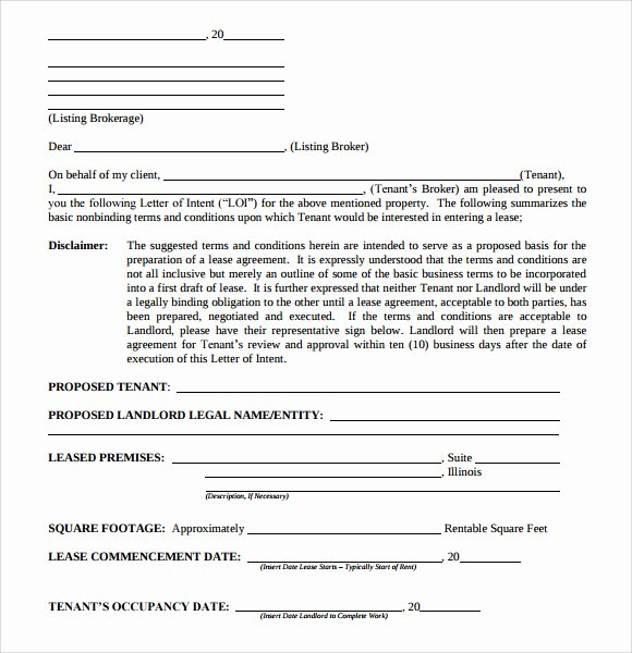Lease Letter Of Intent Sample Lovely 10 Letter Of Intent Real Estate Templates to Download