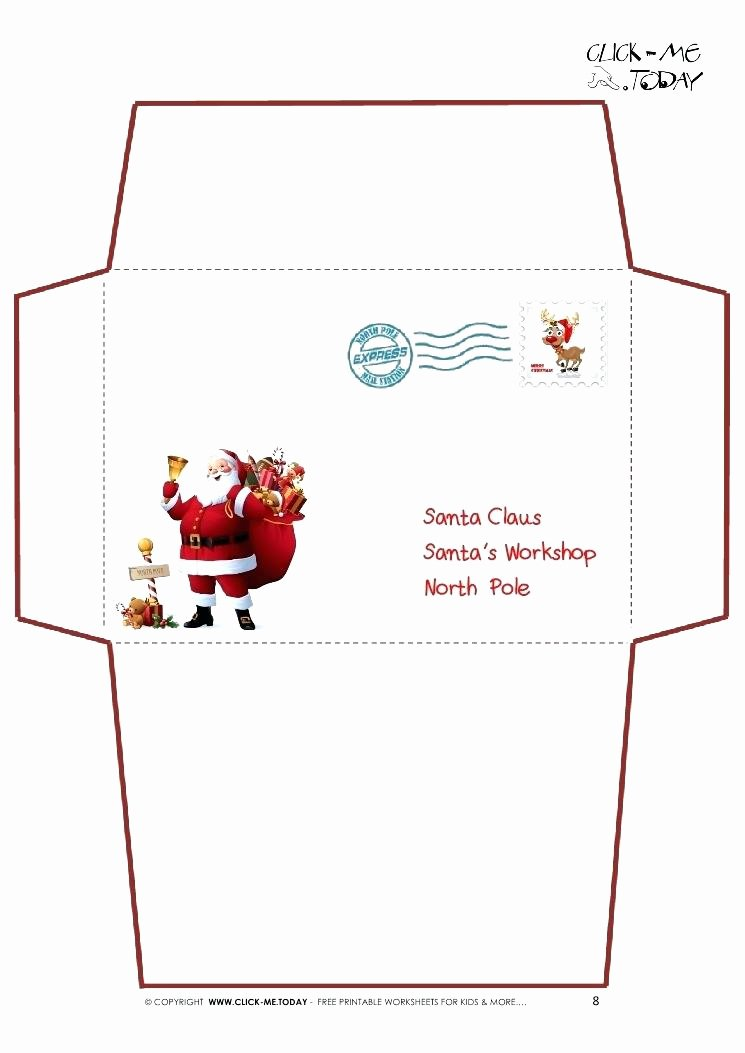 santa envelopes letter envelope dear template
