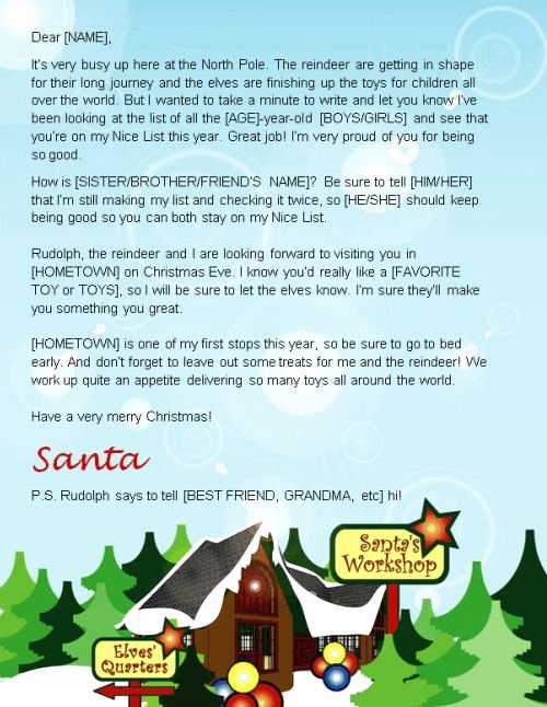 Letter From Santa Template Word Beautiful Letter From Santa Template Word
