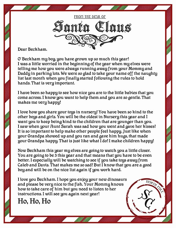 Letter From Santa Template Word Beautiful Santa Letter Template Word Invitation Template