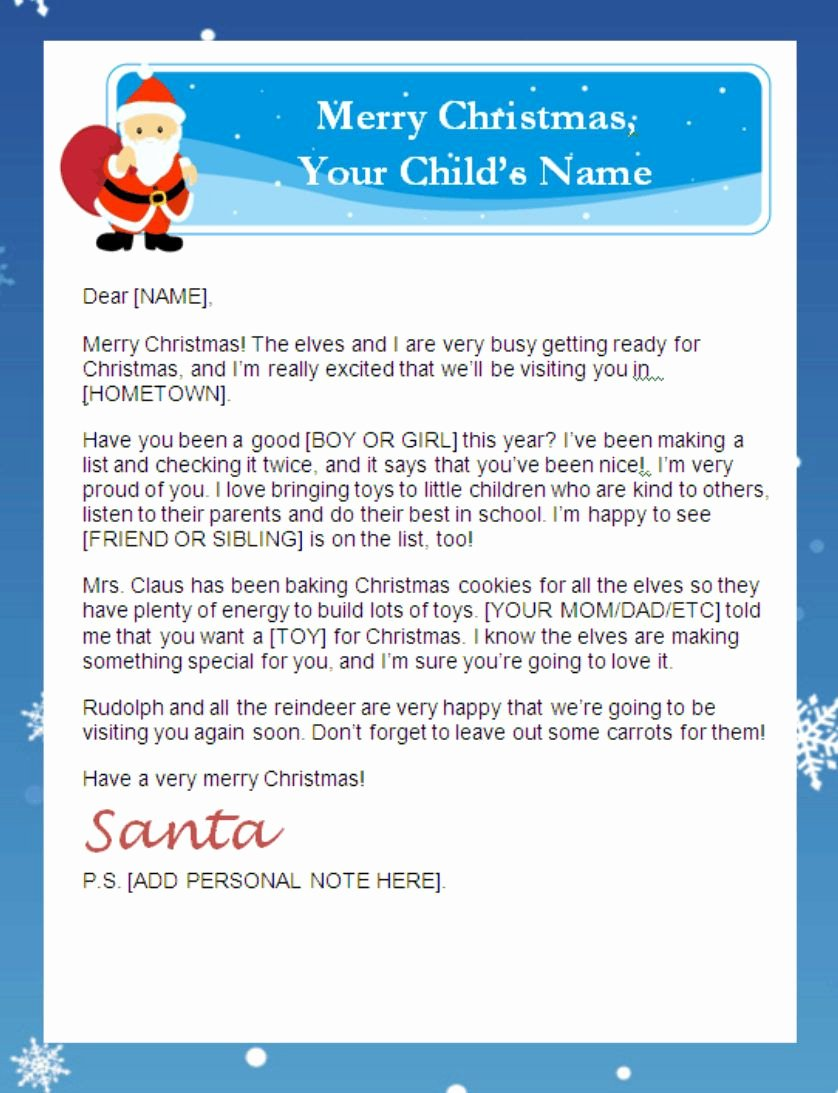 Letter From Santa Template Word Best Of Letter From Santa Templates Free