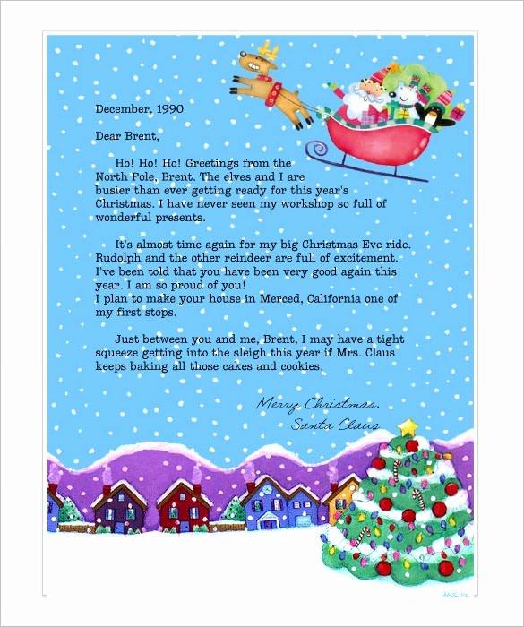 Letter From Santa Template Word Elegant Line Letter From Santa Letter Of Re Mendation