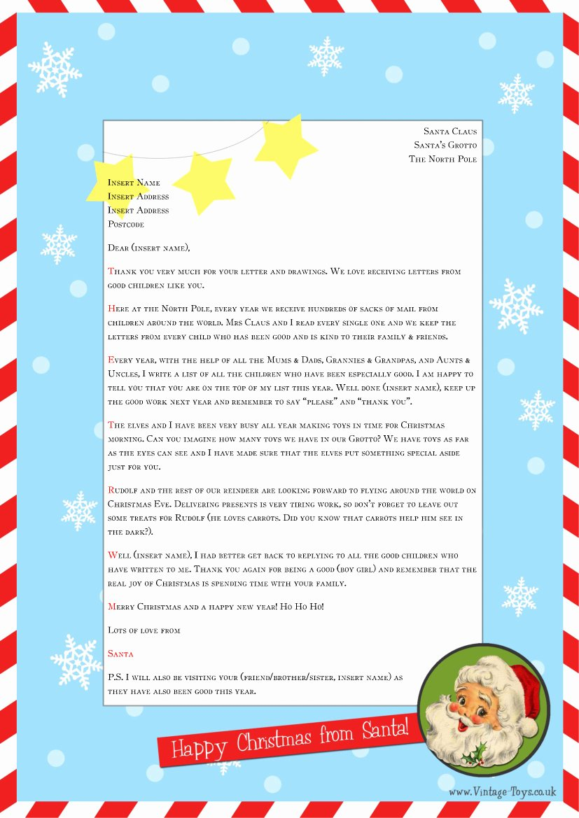 """Letter From Santa Template Word Fresh Free """"letter From Santa"""" Template for You to and"""