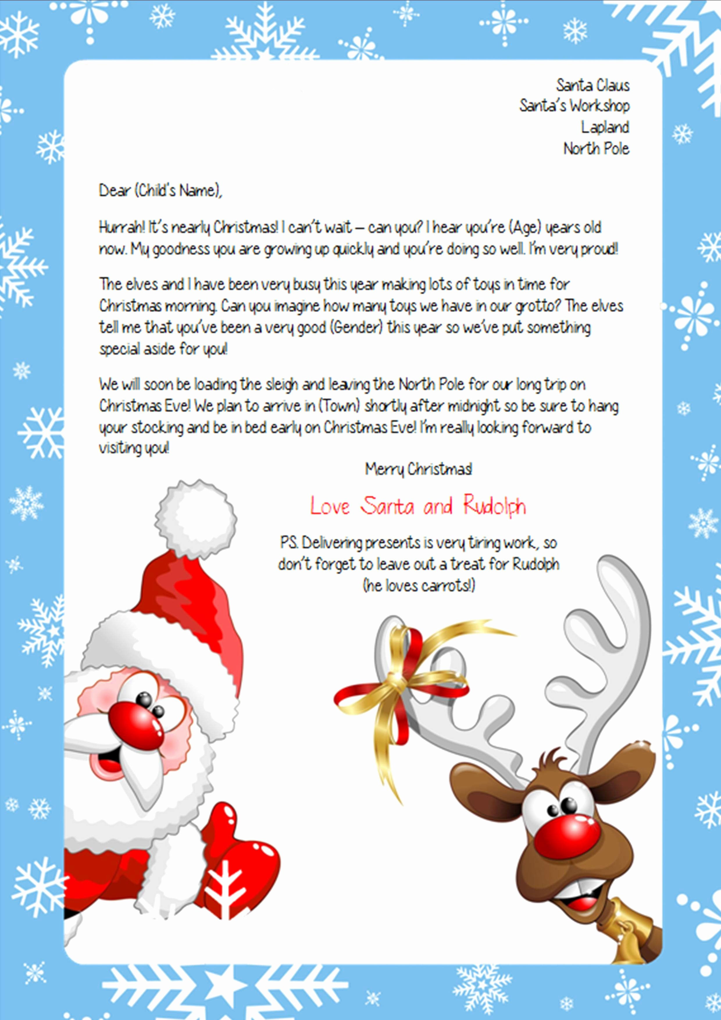 Letter From Santa Template Word Inspirational Personalised Letter From Santa