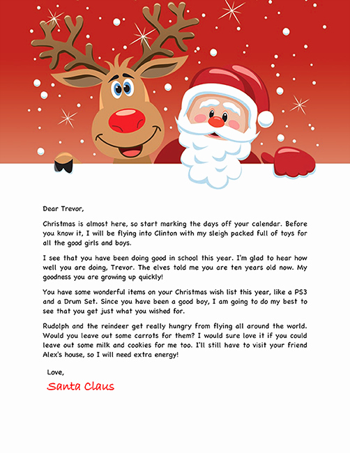 Letter From Santa Template Word Unique Free Santa Letter Holiday Christmas
