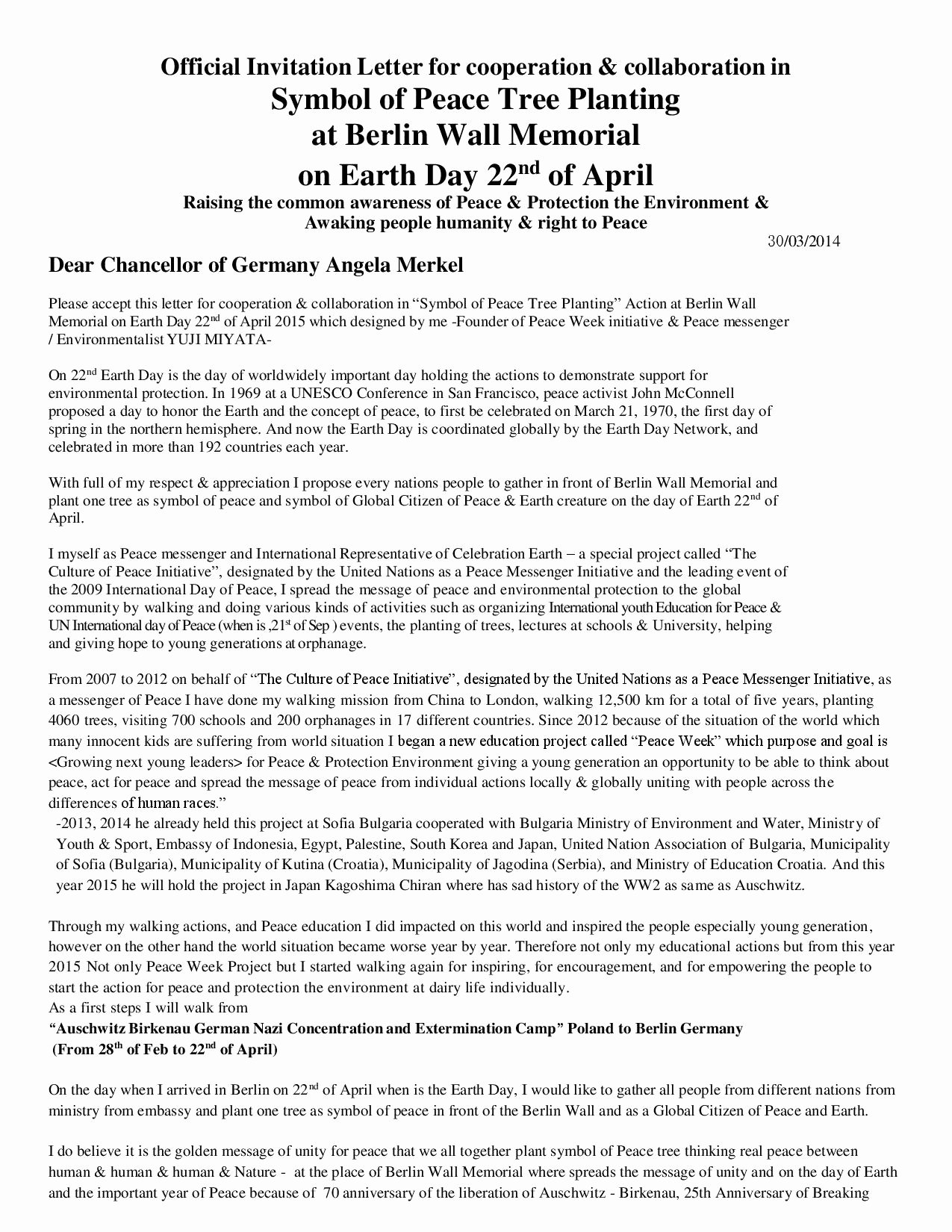 official invitation letter for cooperation collaboration in symbol of peace tree planting at berlin wall memorial on earth day 22nd of april