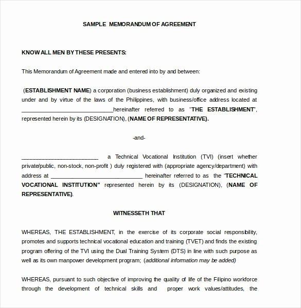Letter to Garcia Pdf Fresh Memorandum Of Agreement Template – 10 Free Word Pdf