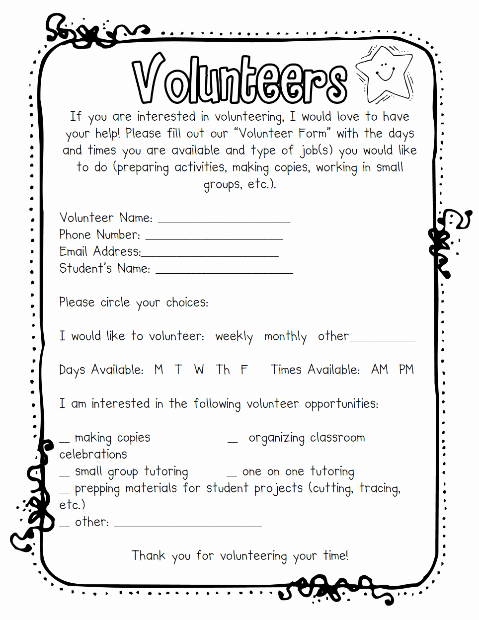 Letter to Garcia Pdf Lovely Volunteers Pdf Kindergarten