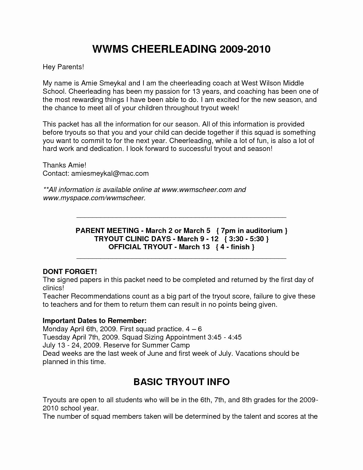 Letters to Parents Template Best Of Summer Camp Letter to Parents Template Samples