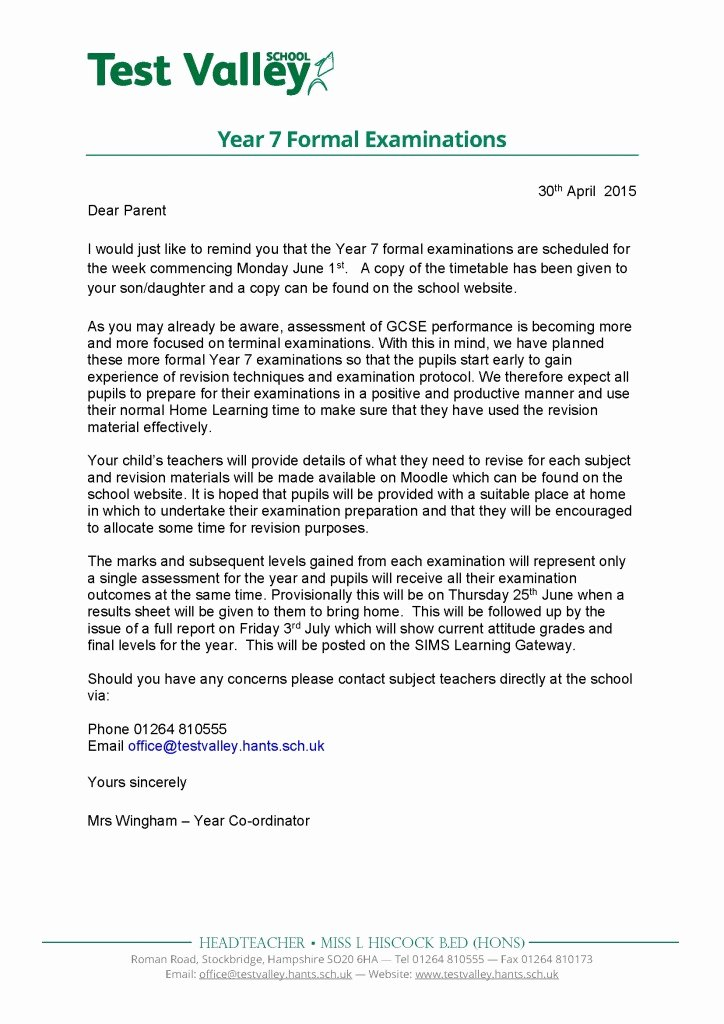 Letters to Parents Template New Test Valley School — Year 7 formal Examinations