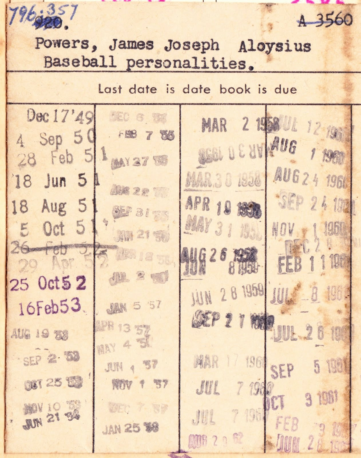 "Library Checkout Card Template Inspirational Papergreat 5 Great Portraits From the 1949 Book ""baseball"