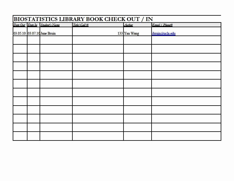 Library Checkout Card Template New Biostatistics Library
