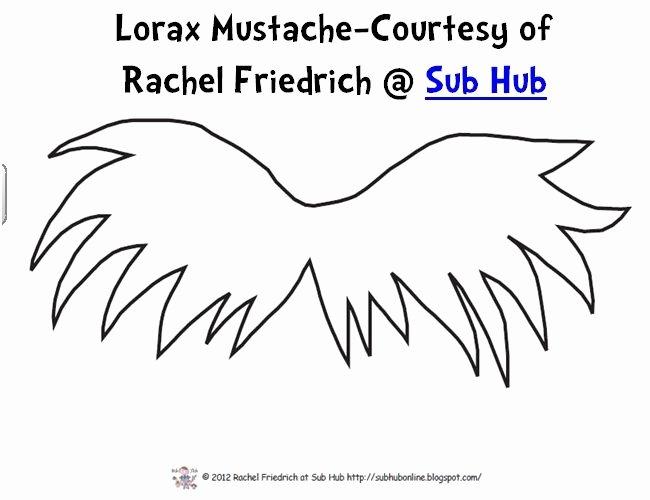 Lorax Eyebrow Template Luxury Lorax Mustache themes Dr Seuss