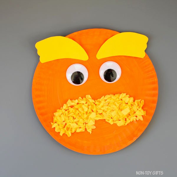 Lorax Mustache and Eyebrows Template Best Of Paper Plate Lorax Craft for Kids Dr Seuss Day Craft
