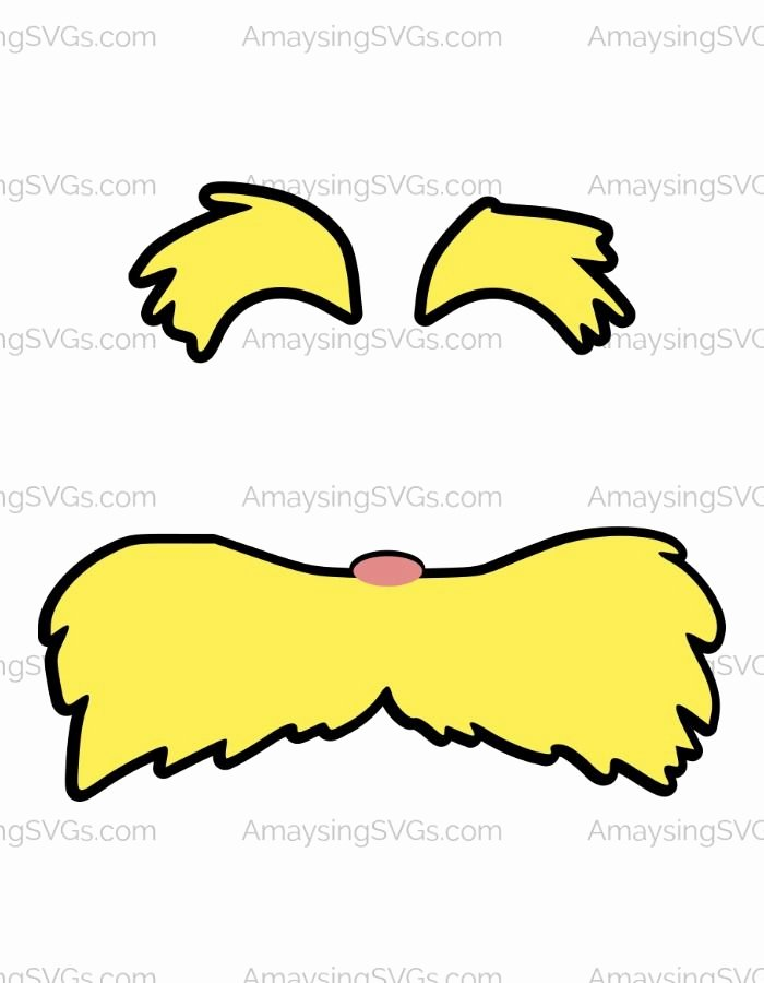 Lorax Mustache and Eyebrows Template Unique the Lorax Moustache and Eyebrows Svg is Quintessential Dr