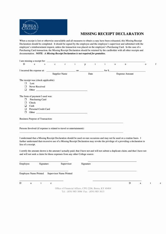 Lost Receipt form Template Inspirational top Lost Receipt form Templates Free to In Pdf format