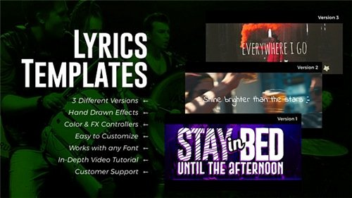Lyric Video after Effects Fresh Lyrics Templates 3 Versions after Effects Project