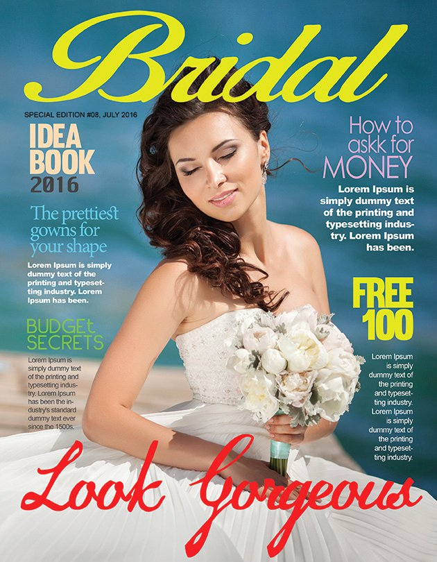 bridal magazine cover psd template