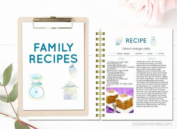 recipe book templates