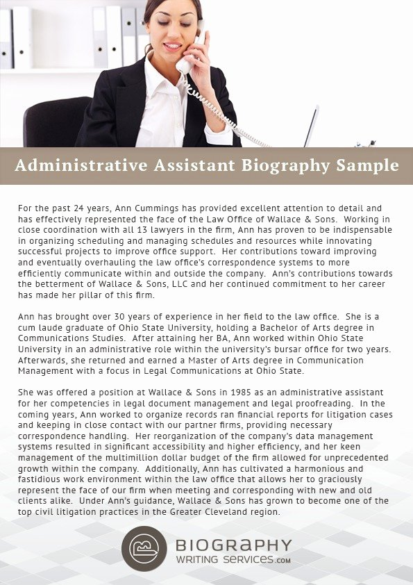 Makeup Artist Bio Sample Awesome Administrative assistant Biography Sample