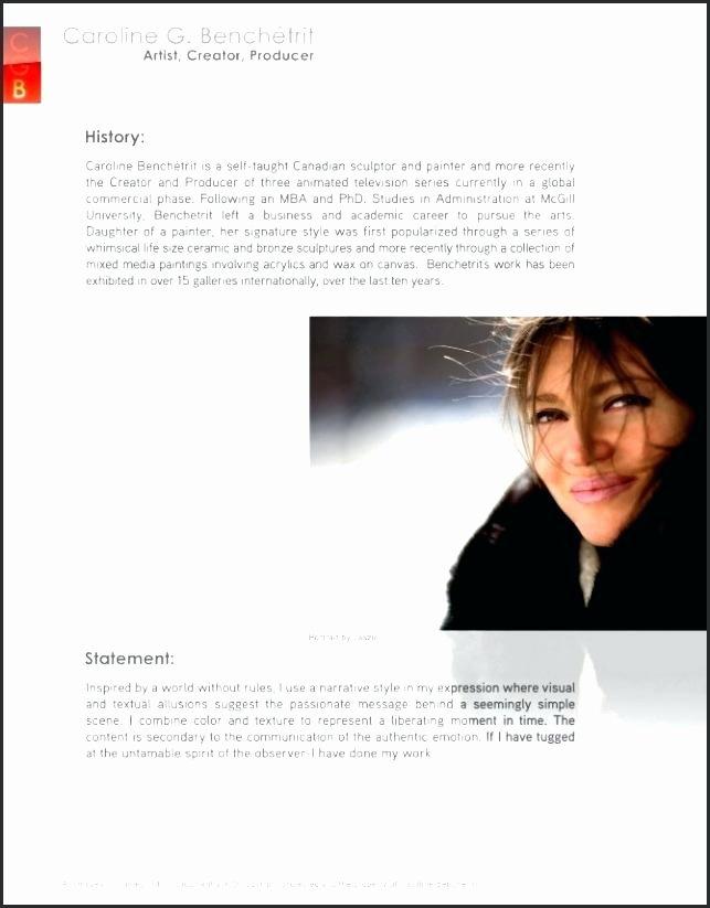 Makeup Artist Bio Sample Elegant 18 Artist Biographies Examples