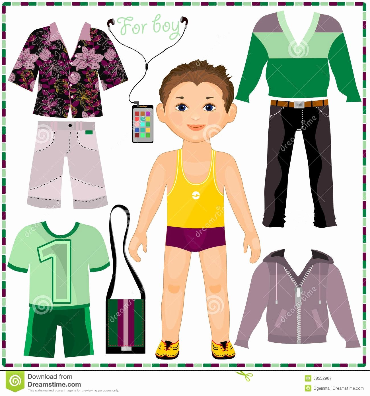 Male Paper Doll Elegant Paper Doll with A Set Fashionable Clothing