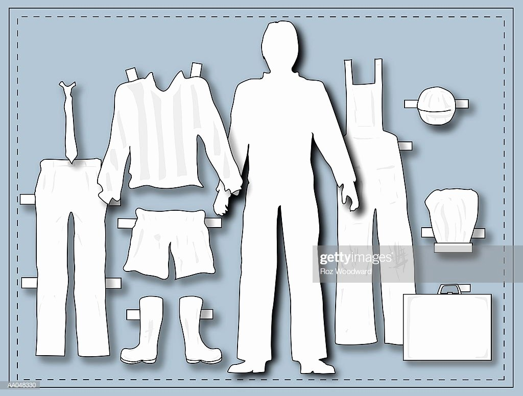Male Paper Doll New Male Paper Doll with Occupational Clothing Stock