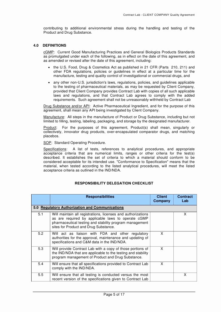 analytical quality agreement template