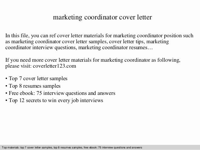 Marketing Coordinator Cover Letter Best Of Marketing Coordinator Cover Letter