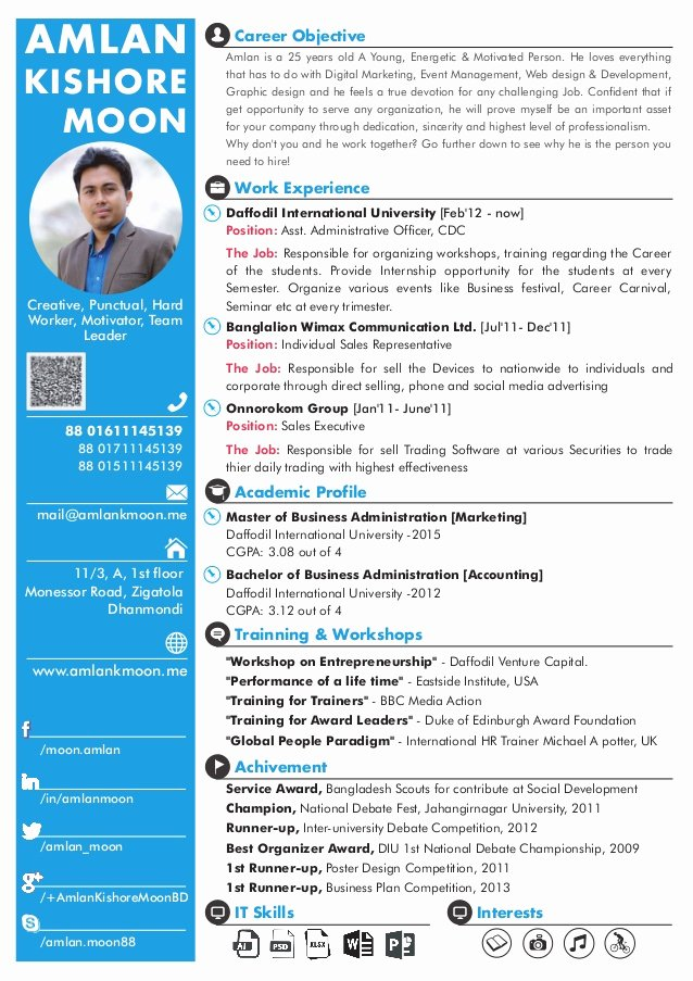 Marketing One Pager Template Inspirational Amlan Kishore Moon [ E Page Cv]