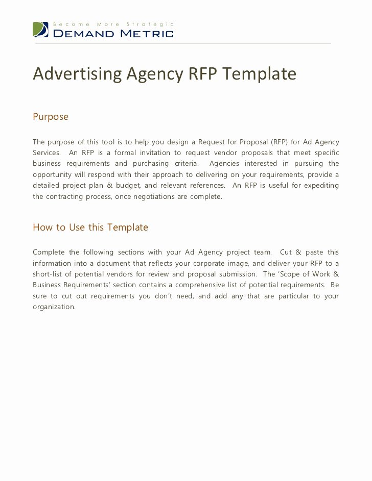 Marketing Project Request form Template Luxury Advertising Agency Rfp Template
