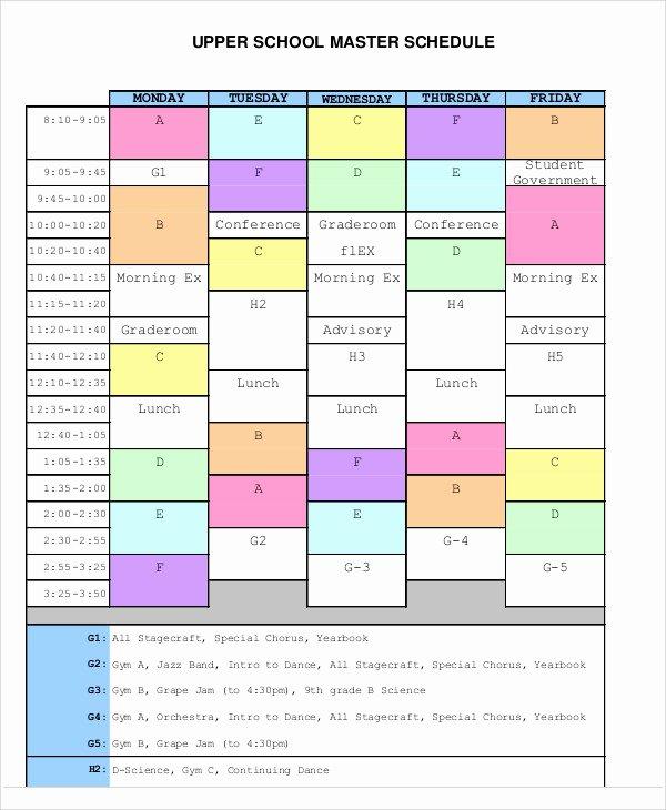 master schedule templates