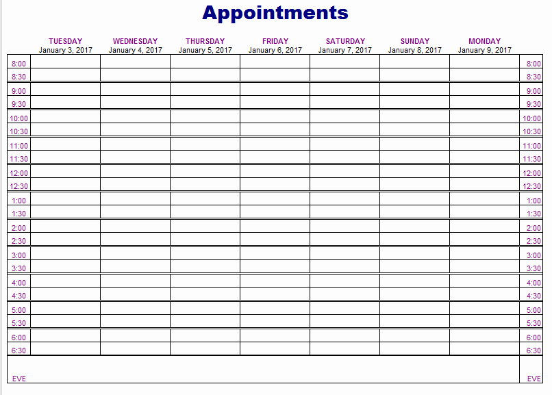 Medical Office Appointment Scheduling Template Elegant Appointment Schedule Template 5 Free Templates