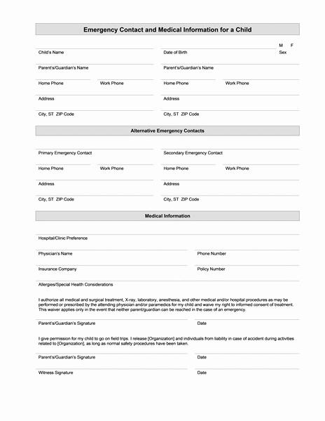 medical information form 507