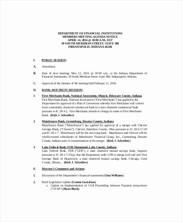 sample project meeting agenda