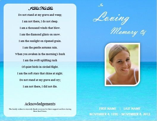 Memorial Card Template Awesome Single Fold Beach Funeral Program Template for
