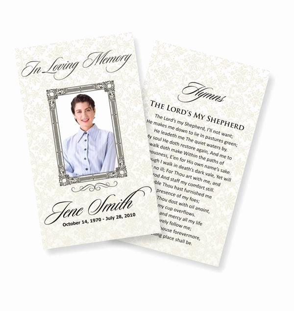 Memorial Card Template Luxury Funeral Prayer Cards Examples