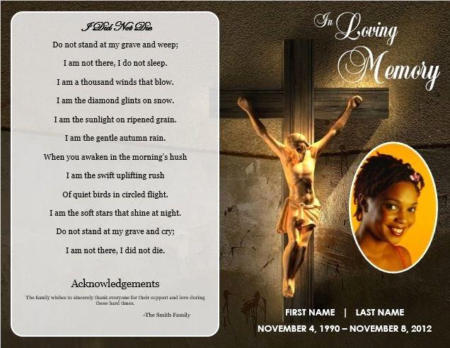 Memorial Card Template New Jesus Cross Bifold Funeral Card Template for Funeral