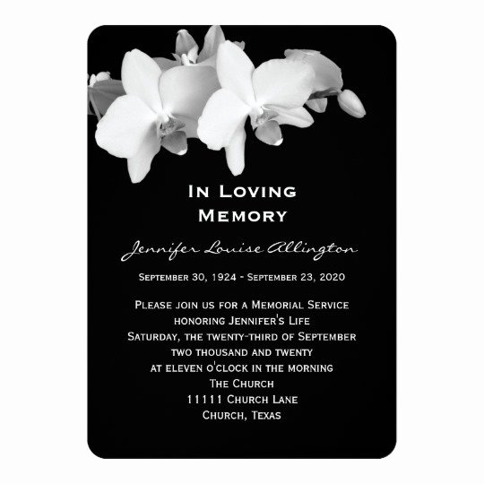 Memorial Service Invitations Templates Beautiful Memorial Service Announcement orchids