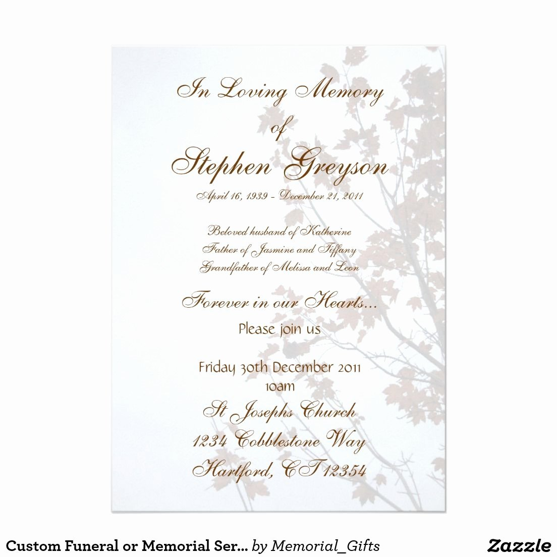 "Memorial Service Invitations Templates Best Of Custom Funeral or Memorial Service Announcement 5"" X 7"