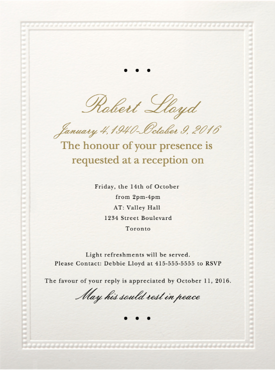 Memorial Service Invitations Templates Inspirational 39 Best Funeral Reception Invitations