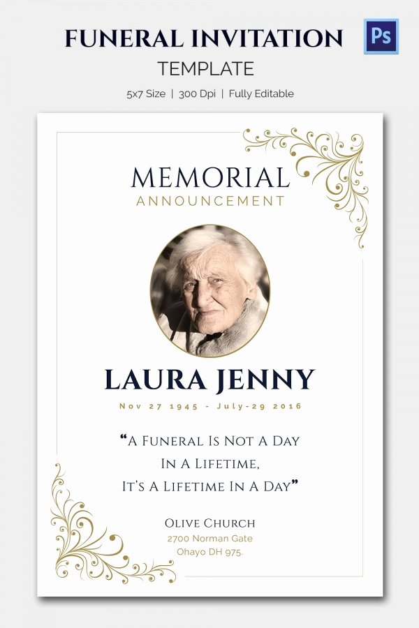 Memorial Service Invitations Templates Inspirational Funeral Invitation Template – 12 Free Psd Vector Eps Ai