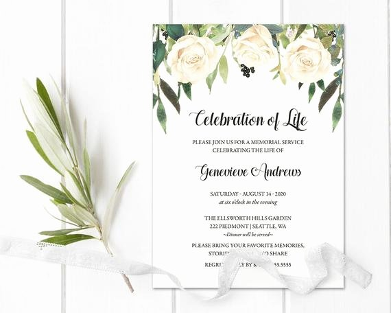 Memorial Service Invitations Templates New Celebration Of Life Invitation Template Funeral